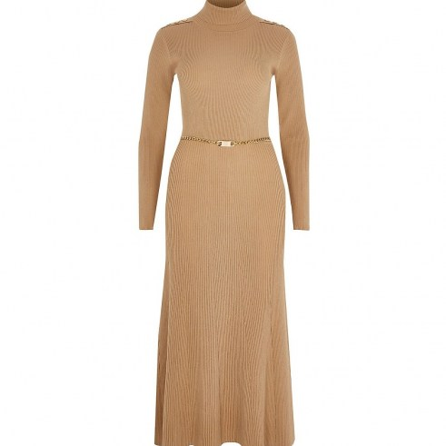 RIVER ISLAND Brown chain detail ribbed long sleeve dress – high neck dresses