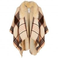 RIVER ISLAND Brown check cape faux fur collar jacket ~ winter capes