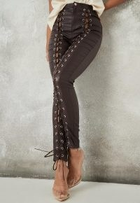 Missguided brown coated lace up jeans | glamorous skinnies