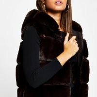 River Island Brown faux fur hooded gilet – luxe style gilets – fluffy sleeveless winter jackets