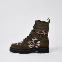 RIVER ISLAND Brown leopard print chunky biker boots