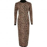 RIVER ISLAND Brown leopard print midi dress ~ fitted long sleeve animal print dresses