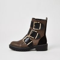 RIVER ISLAND Brown RI monogram print buckle boots / biker style boot