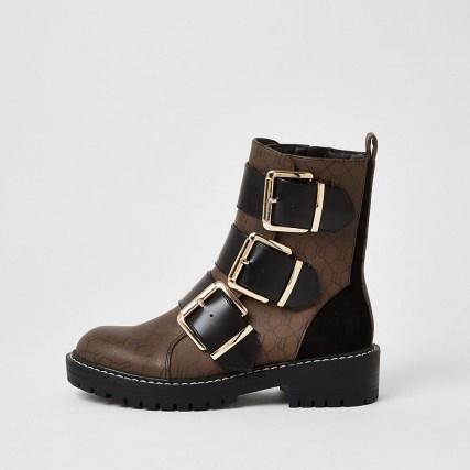 RIVER ISLAND Brown RI monogram print buckle boots / biker style boot