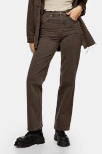 TOPSHOP Brown 90s Straight Jeans ~ neutral denim
