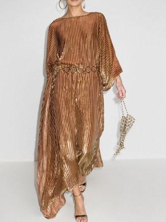 Taller Marmo metallic stripe print asymmetric dress | gold tone party dresses | evening glamor | glamorous occasion outfits - flipped