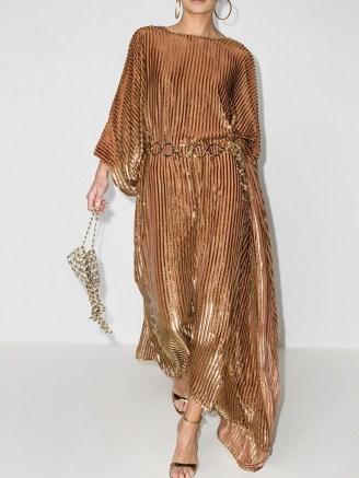 Taller Marmo metallic stripe print asymmetric dress | gold tone party dresses | evening glamor | glamorous occasion outfits