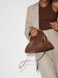 USISI SISTER Lucas leather shoulder bag / brown top handle bags