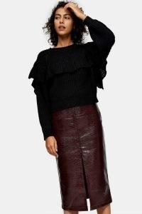 TOPSHOP Burgundy PU Crocodile Print Midi Pencil Skirt / croc effect skirts / winter colours