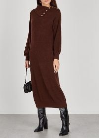 BYTIMO Brown wool-blend jumper dress / winter knitwear / chic knitted dresses
