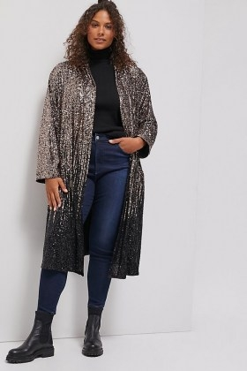 BB Dakota Dulcinea Sequined Duster Jacket / glittering longline sequinned jackets - flipped