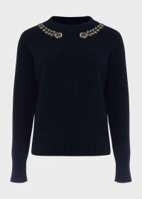 HOBBS CAITLIN WOOL BLEND EMBELLISHED SWEATER – navy-blue necklace style sweaters