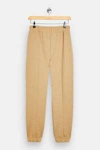 TOPSHOP Camel Bubble Quilted Joggers ~ textured jogging bottoms