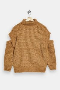 Topshop Camel Split Shoulder Roll Neck Knitted Jumper | light brown open sleeve jumpers
