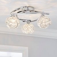 Cecilie 3 Light Crystal Semi-Flush Ceiling Fitting – chrome plated finish, this semi-flush fitting features three lights with decorative crystal glass shade and curling arms