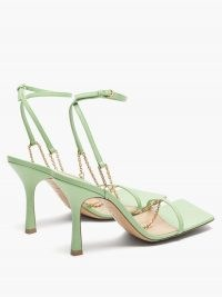 BOTTEGA VENETA Green chain-strap leather sandals ~ strappy square toe heels