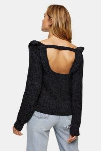 Topshop Charcoal Grey Tie Back Ruffle Cable Knitted Jumper | pretty open back jumpers