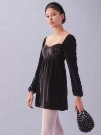 REFORMATION Chestnut Dress ~ black velvet babydoll dresses