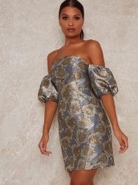 Chi Chi Alisha Dress ~ jacquard bardot dresses ~ off the shoulder partywear