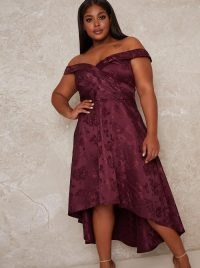 Chi Chi Curve Aliciya Dress ~ purple plus size party dresses ~ bardot occasionwear ~ off the shoulder