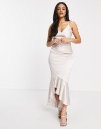 Chi Chi London satin fishtail midi dress in champagne ~ skinny strap occasion dresses