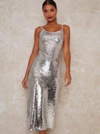 Chi Chi Meemi Dress ~ metallic silver party dresses