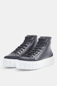 Topshop CHIVE Black High Top Trainers   thick sole sneakers