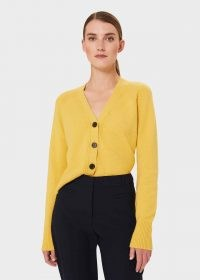 HOBBS CHLOE CARDIGAN WITH ALPACA – yellow V-neck front button cardigans
