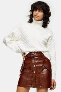 TOPSHOP Chocolate Brown PU Crocodile Button Through Mini Skirt / retro croc effect skirts