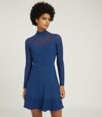 REISS CLEMMY SHEER STRIPE KNITTED DRESS BLUE ~ chic winter dresses