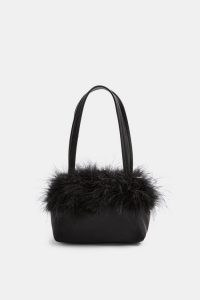TOPSHOP CLUELESS Black Feather Grab Bag ~ glamorous handbags ~ party accessories