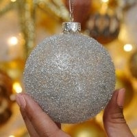 8cm Crusted Glass Christmas Tree Bauble
