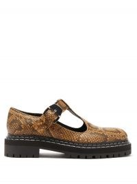 PROENZA SCHOULER Combat tread-sole python-print leather loafers ~ chunky snake effect t-bar shoes