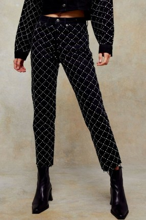 CONSIDERED Black Diamante Straight Jeans / embellished denim