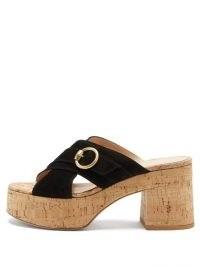 GIANVITO ROSSI Cork-platform suede sandals | 70s style black crossover platforms | vintage look block heels