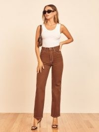 REFORMATION Cowboy High Rise Straight Jeans – chocolate brown denim