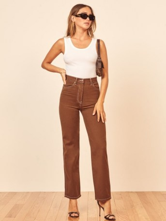 REFORMATION Cowboy High Rise Straight Jeans – chocolate brown denim - flipped