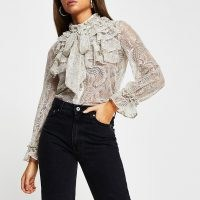 RIVER ISLAND Cream lace frill neck long sleeve blouse top ~ frothy front blouses ~ romantic fashion ~ frilled tops