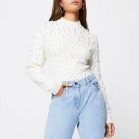 RIVER ISLAND Cream pearl embellished jumper | luxe style jumpers