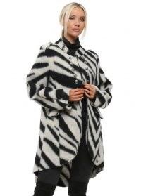 MADE IN ITALY Cream Zebra Print Military Coat ~ monochrome animal print coats
