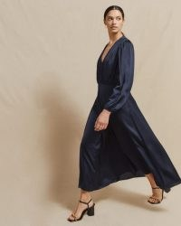 JIGSAW CROCUS DRAPE GATHERED DRESS / floaty navy-blue dresses