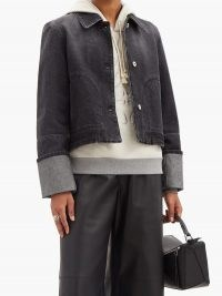 LOEWE Cropped denim jacket / black demin jackets / turned up cuffs / casual clothing