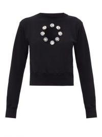 CHRISTOPHER KANE Crystal organic-cotton jersey sweatshirt | front cut out sweatshirts | black embellished sweat tops