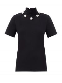 CHRISTOPHER KANE Crystal tie-neck organic cotton-jersey T-shirt | chic meets glamour | embellished high neck tops