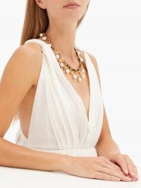 ERDEM Crystal-embellished bow and faux-pearl necklace ~ glamorous statement necklaces ~ evening jewellery ~ occasion glamour
