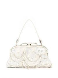 ERDEM Crystal-embellished floral-brocade clutch bag ~ white occasion bags ~ vintage style glamour