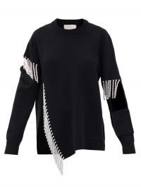 CHRISTOPHER KANE Crystal-embellished keyhole wool sweater | black fringed cut out sweaters | contemporary knitwear