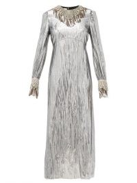 GUCCI Crystal-embellished lamé dress ~ metallic-silver event wear ~ glamorous vintage look evening dresses