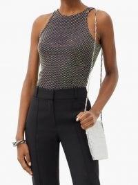 DAVID KOMA Crystal-embellished mesh top / sparkly sleeveless tops