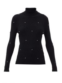 CHRISTOPHER KANE Crystal-embellished ribbed merino-wool sweater | glamorous roll neck sweaters | designer knitwear | black high neck rib knit jumpers